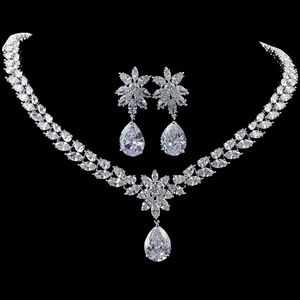 Luxury Bridal Silver Plated CZ Necklace Set